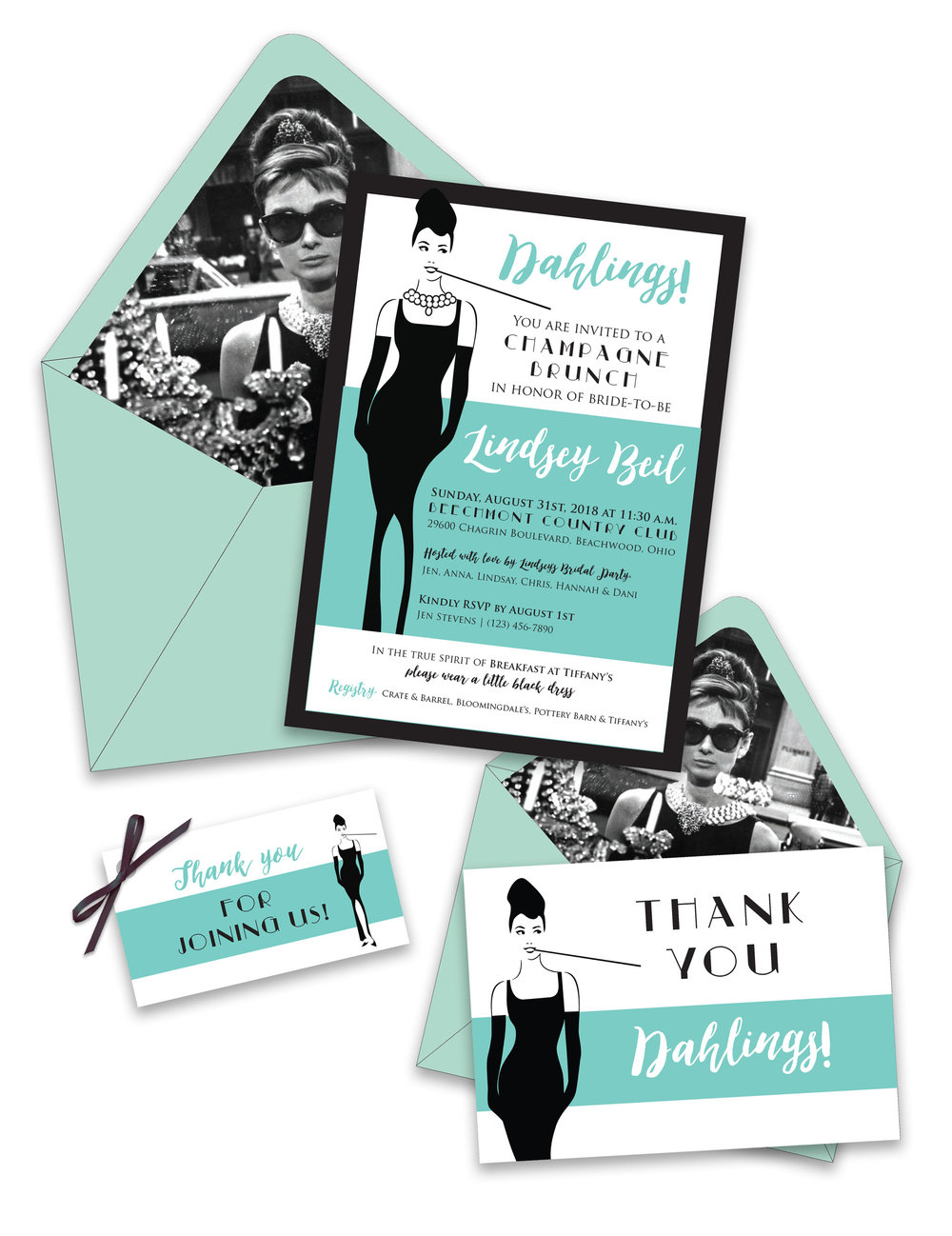 Breakfast At Tiffany's Bridal Shower Invitation Suite