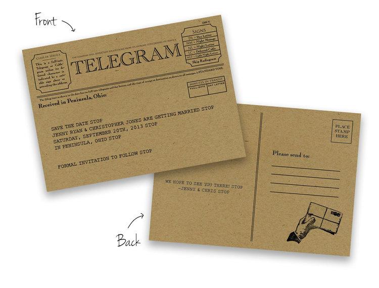 telegram save the date foreword press design