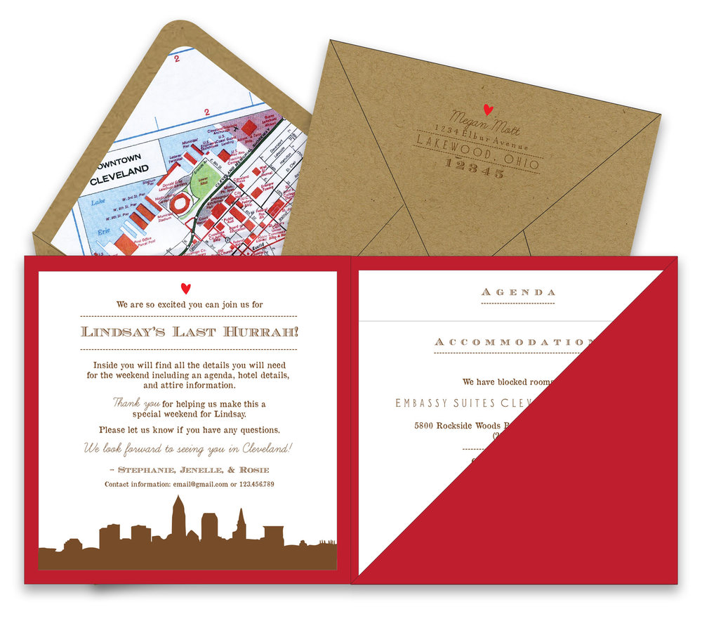 Bachelorette Weekend Getaway Square Pocket Invitation Foreword