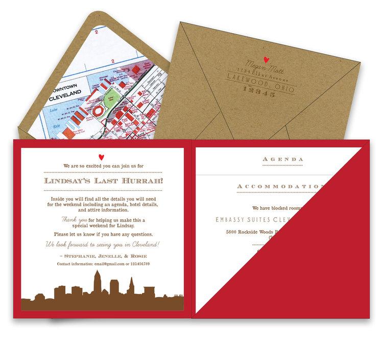 Bachelorette Weekend Getaway Square Pocket Invitation Foreword