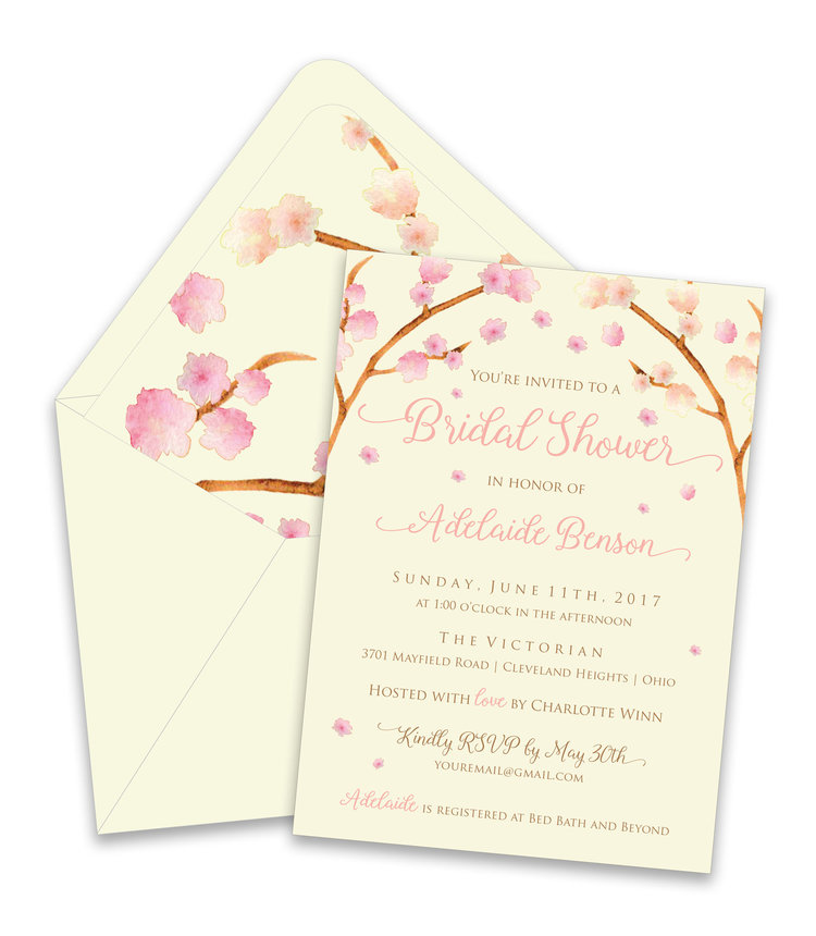 Cherry Blossom Bridal Shower Suite — Foreword Press + Design
