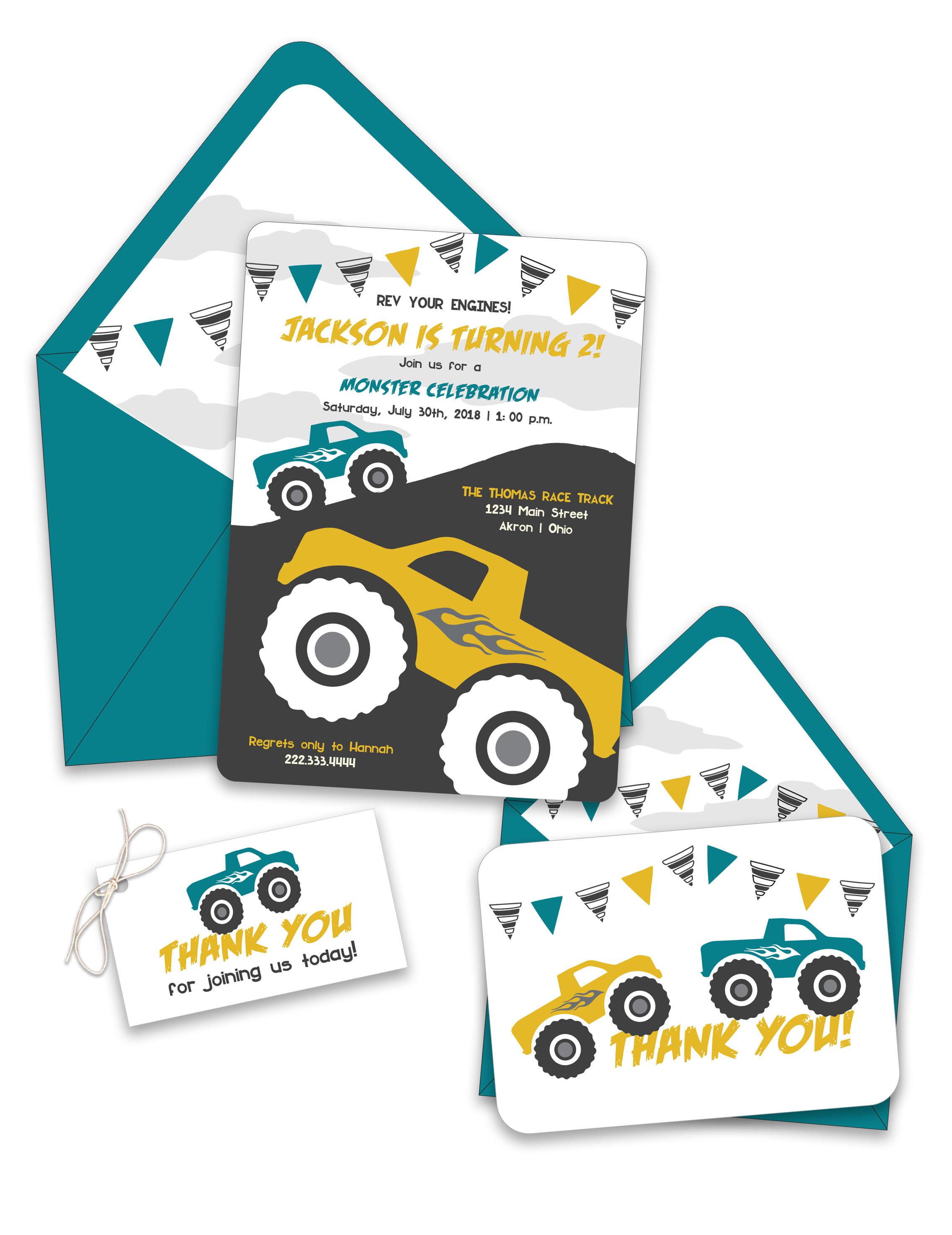 Monster Trucks Birthday Invitation Suite — Foreword Press + Design
