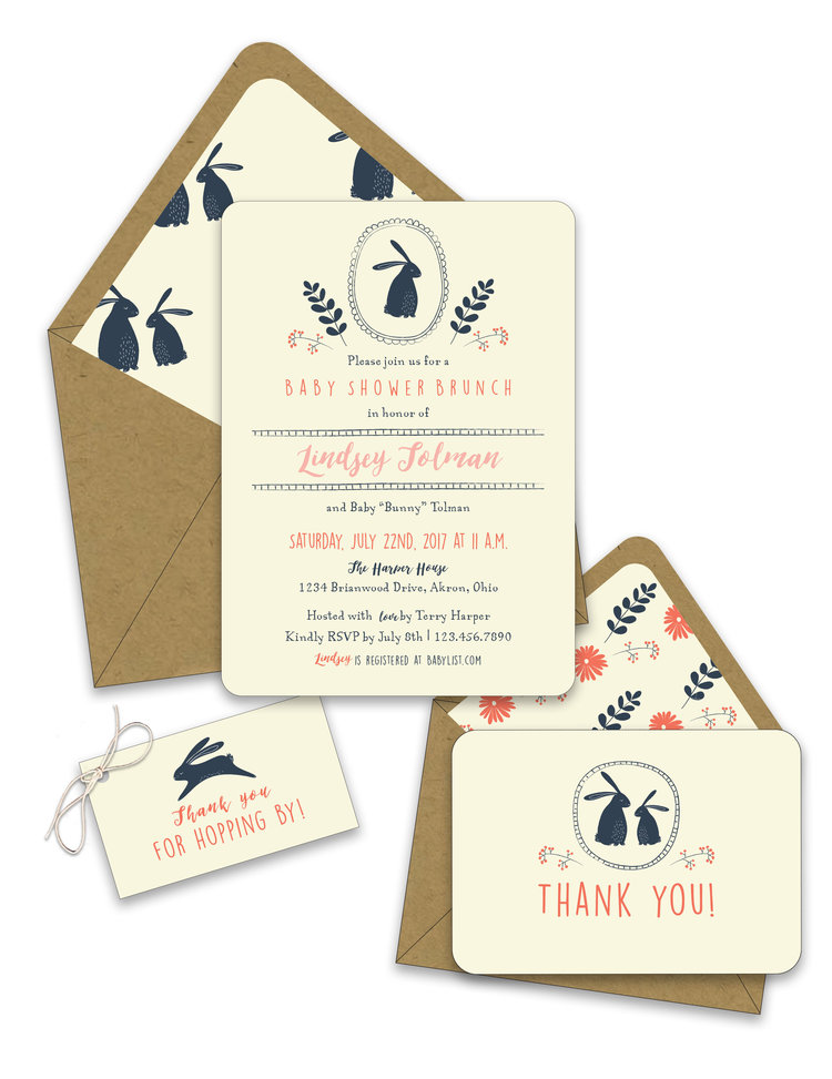 Little Bunny Baby Shower Invitation Suite Foreword Press Design