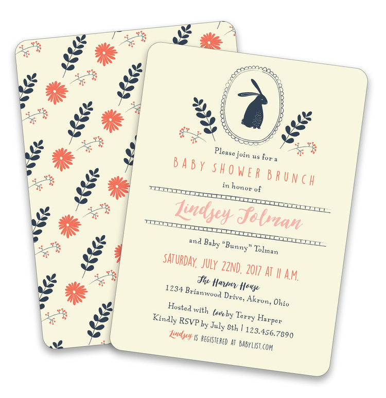 Little Bunny Baby Shower Invitation Suite — Foreword Press + Design