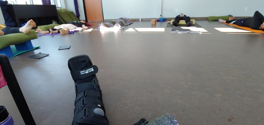 My view teaching class with a boot on. :)