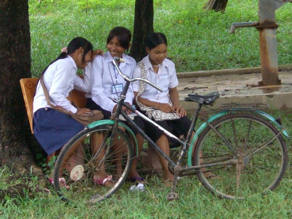 Three scholarship girls during a school break