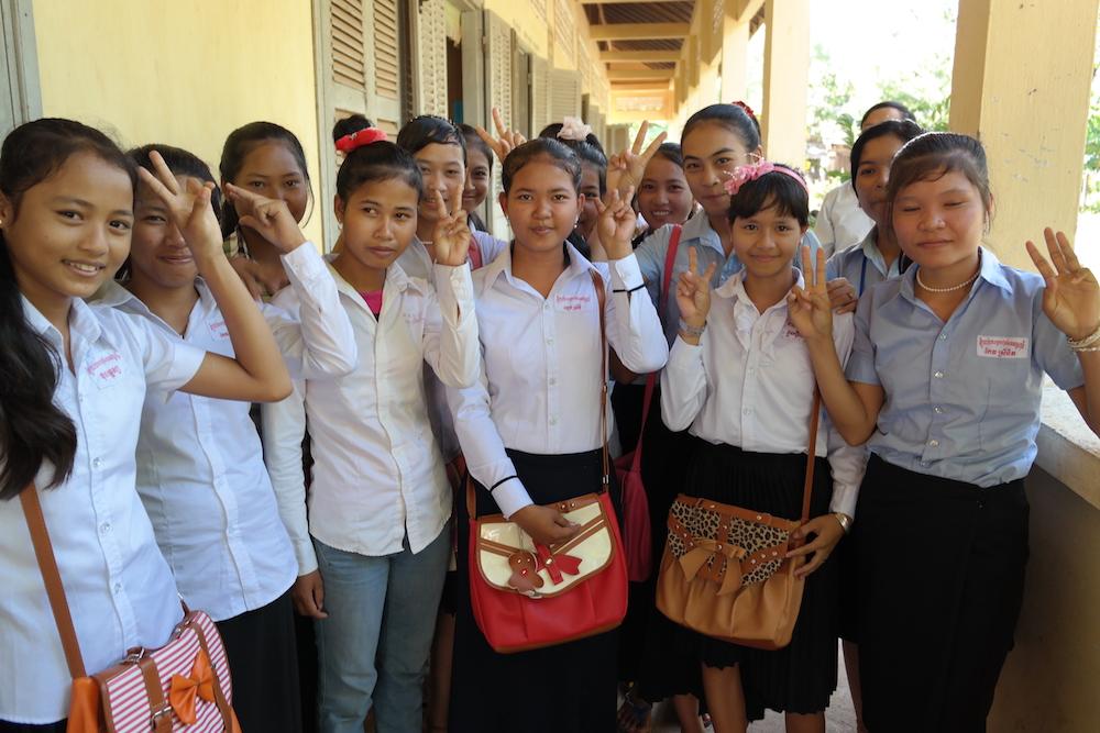 Some scholarship girls greet us in November 2013