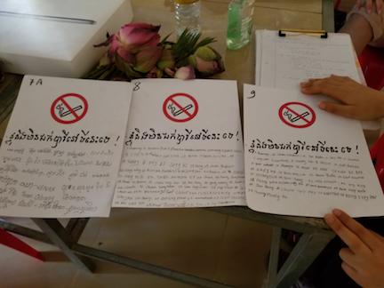 Sofie's students' anti-smoking pledges