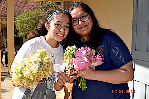 "Bita & Mira received an ""I love you"" & flowers for one of the girls they taught"