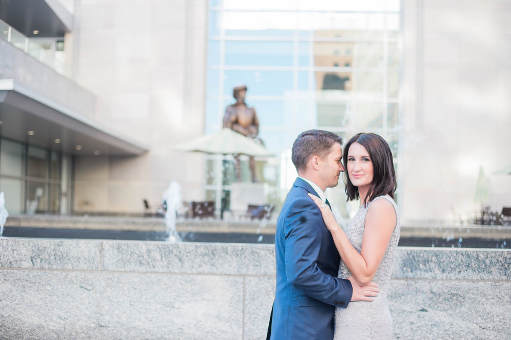 A husband and wife in downtown Raleigh for anniversary photographs.