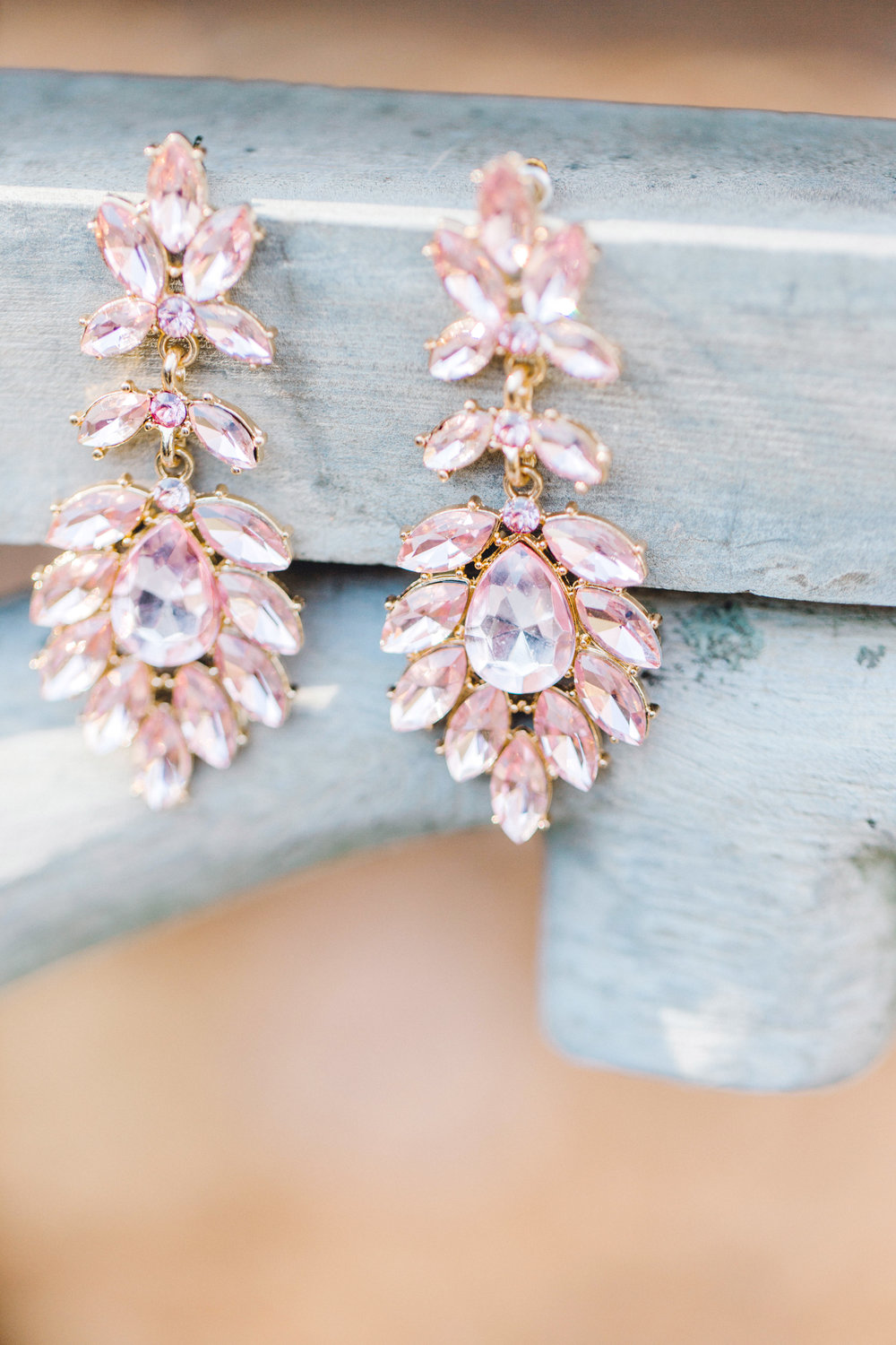 Pink and gold bridal earrings