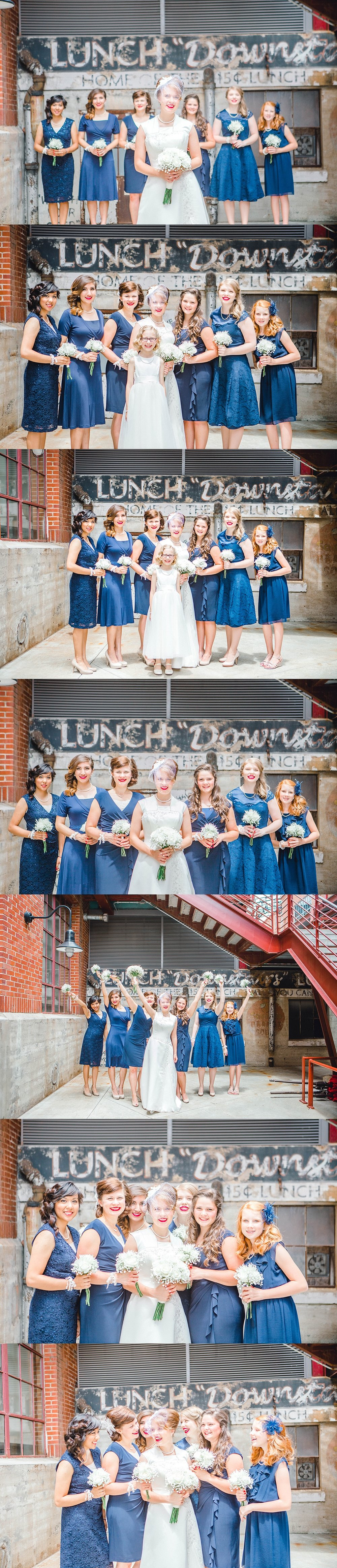 Short navy bridesmaid dresses for a vintage themed wedding