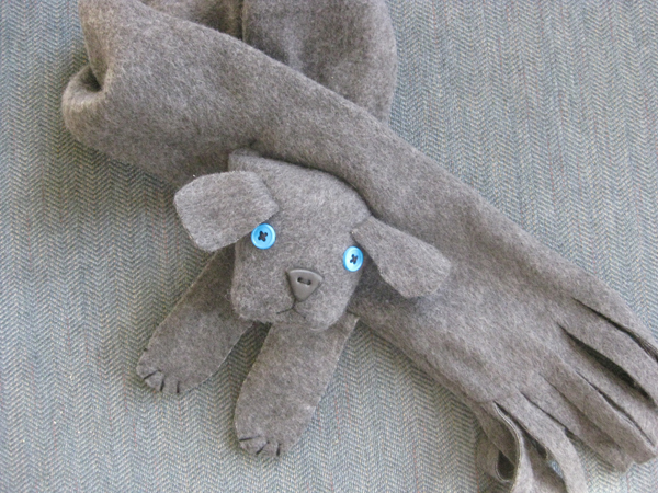 Kids Animal Fleece Scarves, Grey Puppy - Fleece 4 Fun - At The Daylily of Deerfield