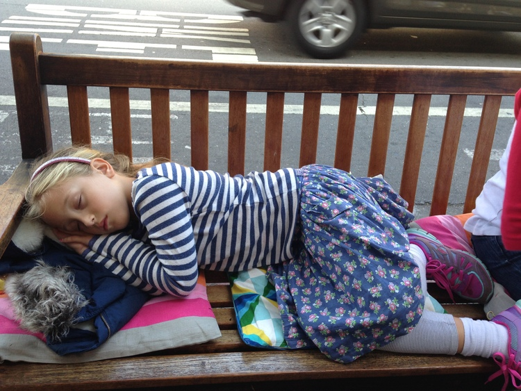 Suddenly needing to shut down is problematic for CWN. Not unlike the toddler years when you urgently need to find a toilet, excursions are always limited by walking tolerance and the immediate need to find a safe place to crash. This picture was taken outside an ice-cream parlor in San Fransisco. The wait line proved too long.