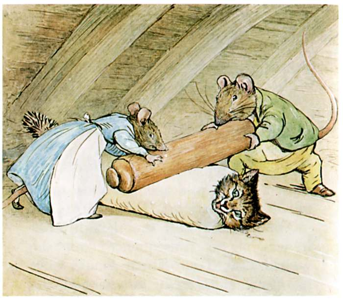 The Tale of Samuel Whiskers is a little too close to home. It could be our Sherlock under that rolling pin.