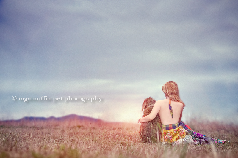 Girl sitting in a field with her dog in Melbourne, Australia at sunset