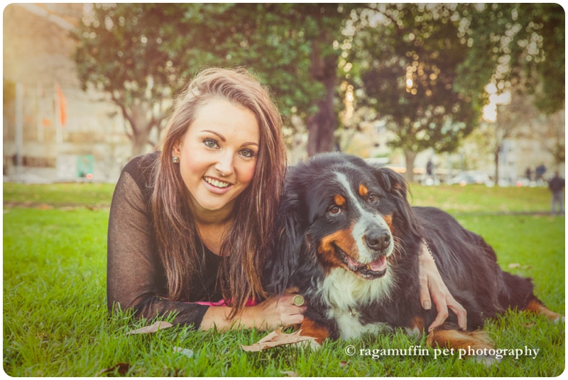 Brooke with her Bernese Mountain Dog in the Queen Victoria Gardens