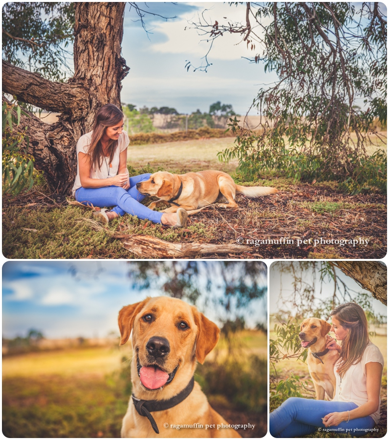 Girl and her dog under tree in Geelong