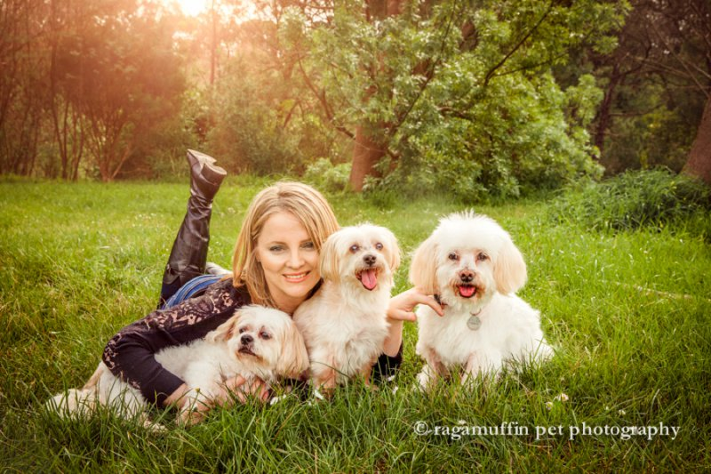 Photograph of woman with her dogs in Melbourne