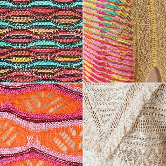 Cecilia Prado is an incredible knitwear designer, combining lace color, and texture. Here are some details of inspiring knit garments. @ceciliaprado_oficial #dropstitchlace #fringe #lace #machineknit #colorwork #inspiration #knitspiration