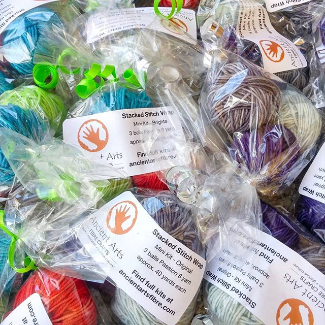 Just packing up these mini Stacked Stitch Wrap yarn kits for my #stackedstitchwrap class at Vogue Knitting Live in NYC. Yarn provided by @ancientartsyarn.  #vklive2017 #yarntreats #partyfavors #ancientartsfibre