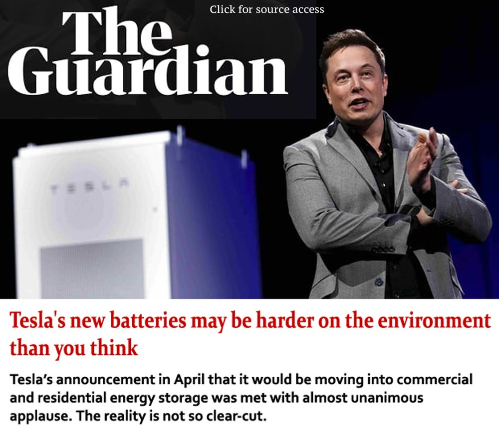 Recent emergence of Tesla products adding new problems - Tesla LLC, LG, Samsung are now selling Lithium based batteries, no plan at end-of-life cycle. This is a true concern from an environmental perspective. No plan has been put in place in order to recycle the Lithium that dwells within this product, and nothing is being foreseen in that regard in the future, so state the company representatives…...Lithium is in fact a rare metal, mass production will obviously hack an irreversible dent in the natural deposits of where lithium can be found, moreover, one gram of lithium compound disposed inappropriately can contaminate up to 10 cubic meters of soil.