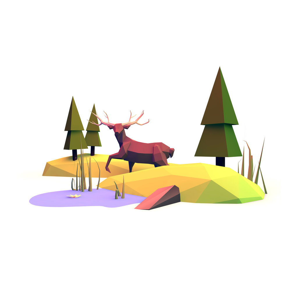 Into the Wild (2015)  - Exploring low-poly 3D modelling in Cinema 4D.