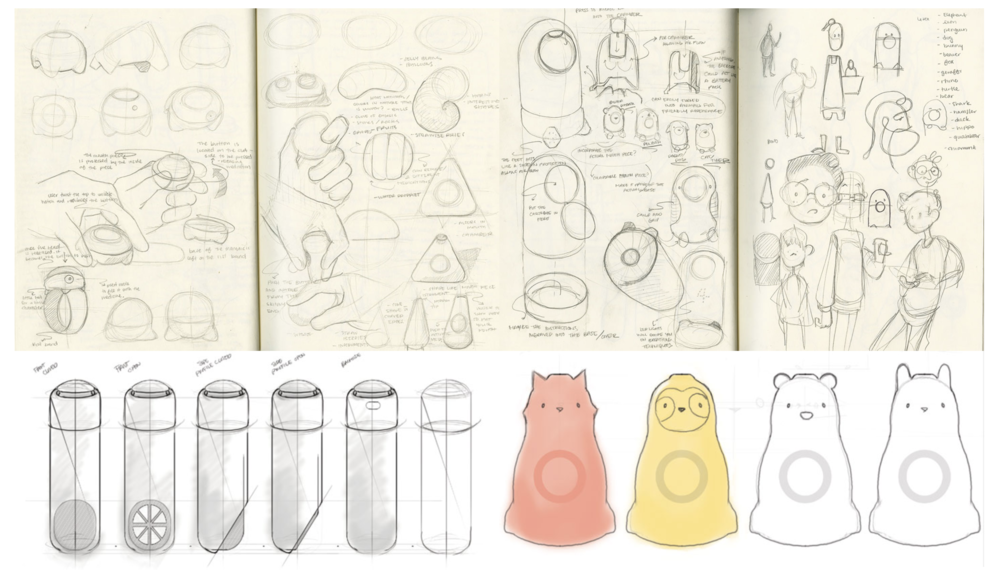 Some sketches of the product from the ideation phase