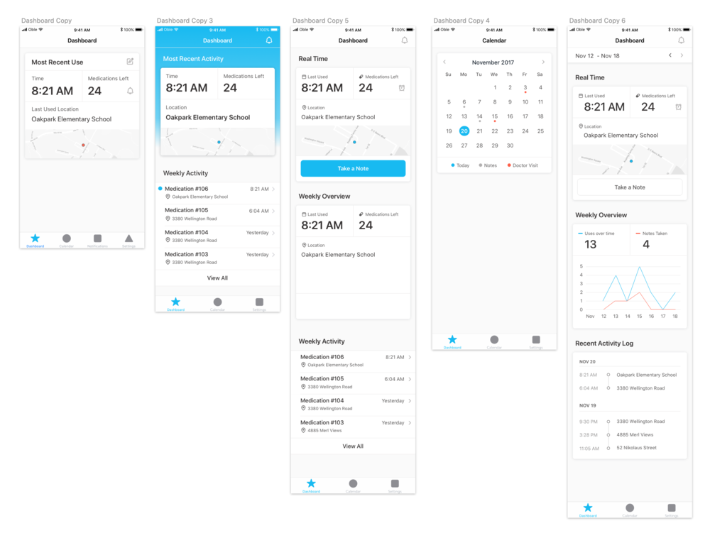 Couple of early iterations of the dashboard screen