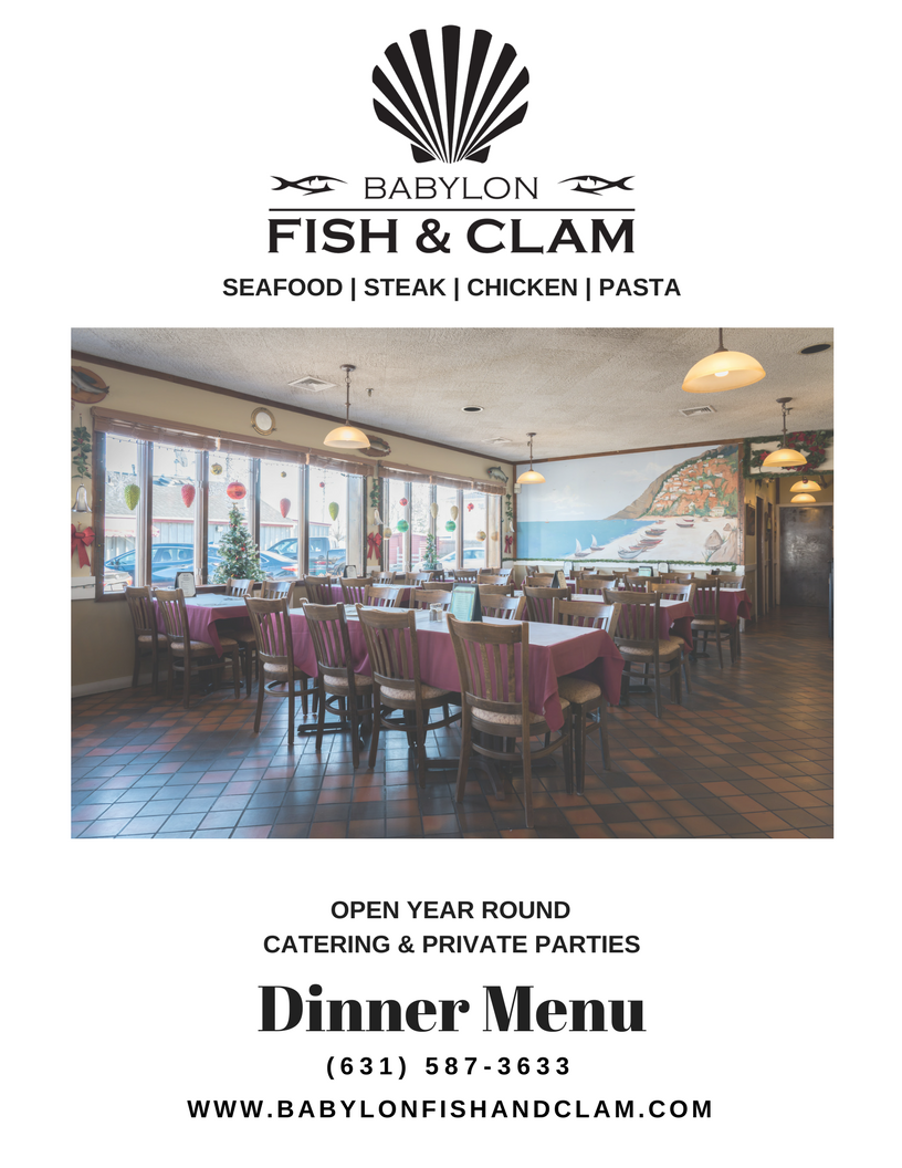 Babylon Fish & Clam Dinner Menu Cover