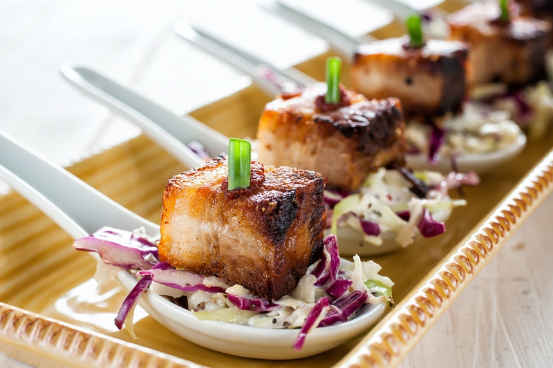 Smoked Pork Belly in Chinese Spoons