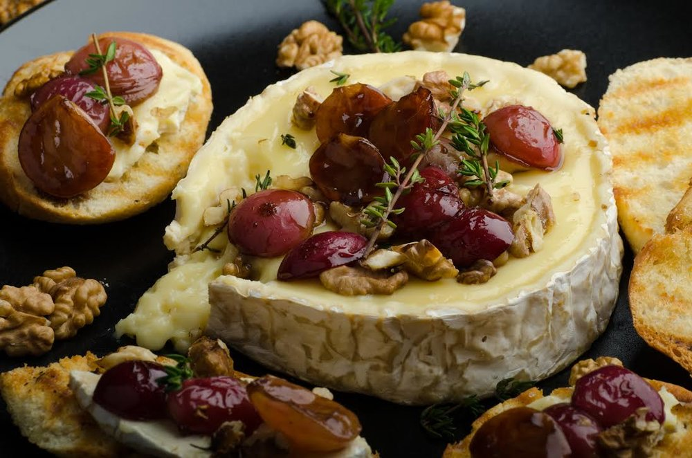 CHEESE - Baked Brie with Agave + AlmondsFondue PotsArtisan Cheese Tray