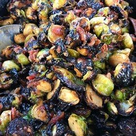 Drunken Brussel Sprouts - Fire Roasted Brussels | Caramelized Onions | BaconBourbon Mustard Sauce