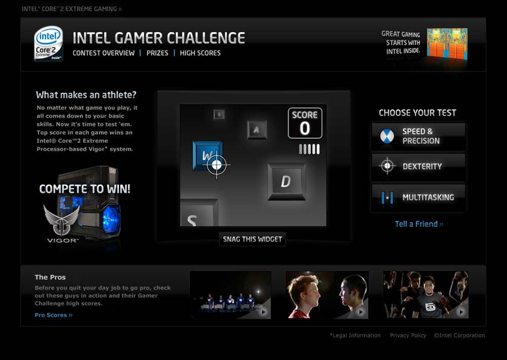 Screenshot from the Gamer Challenge page on Intel.com