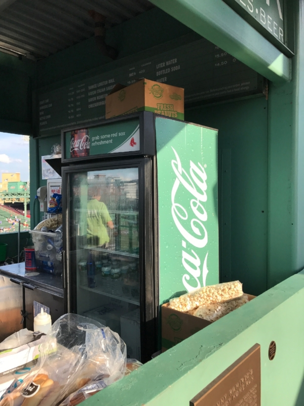 One of two green Coke machines in the world - both are at Fenway!