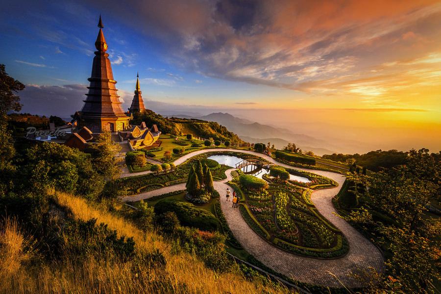 Pagodas at Doi Inthanon Chiang Mai, Thailand