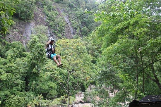 Zipline through jungle