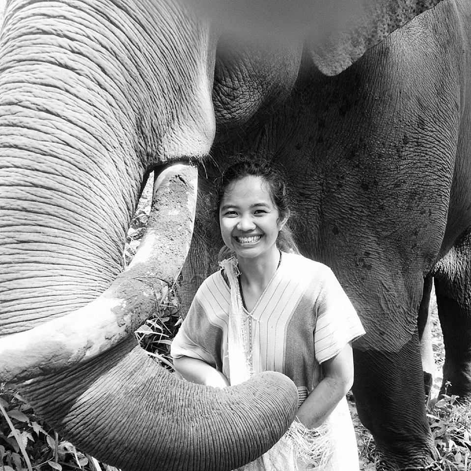 Nukul, a Karen woman with her family's elephant.