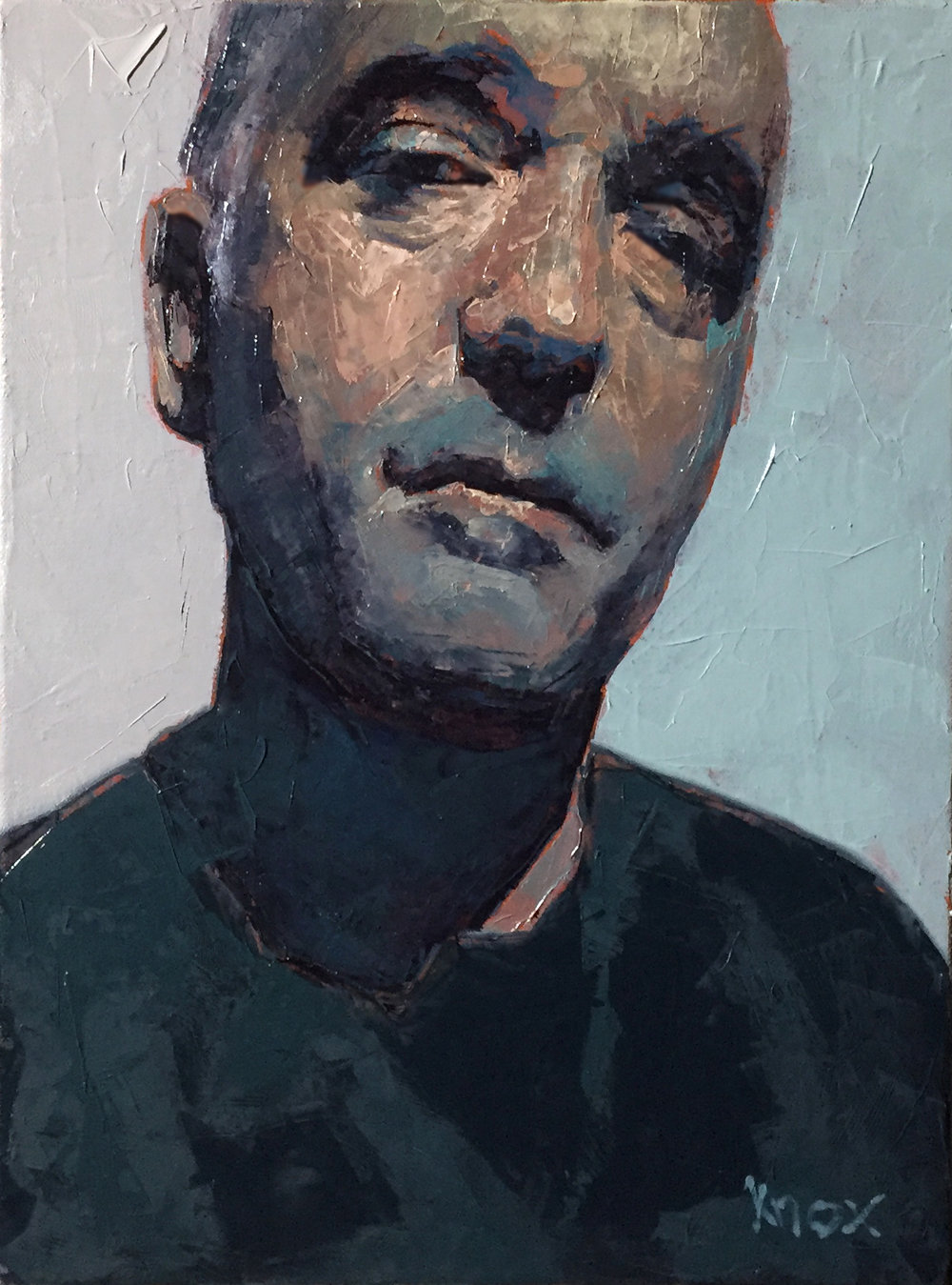 "Self Portrait.  Oil on Board.  11""x14"""