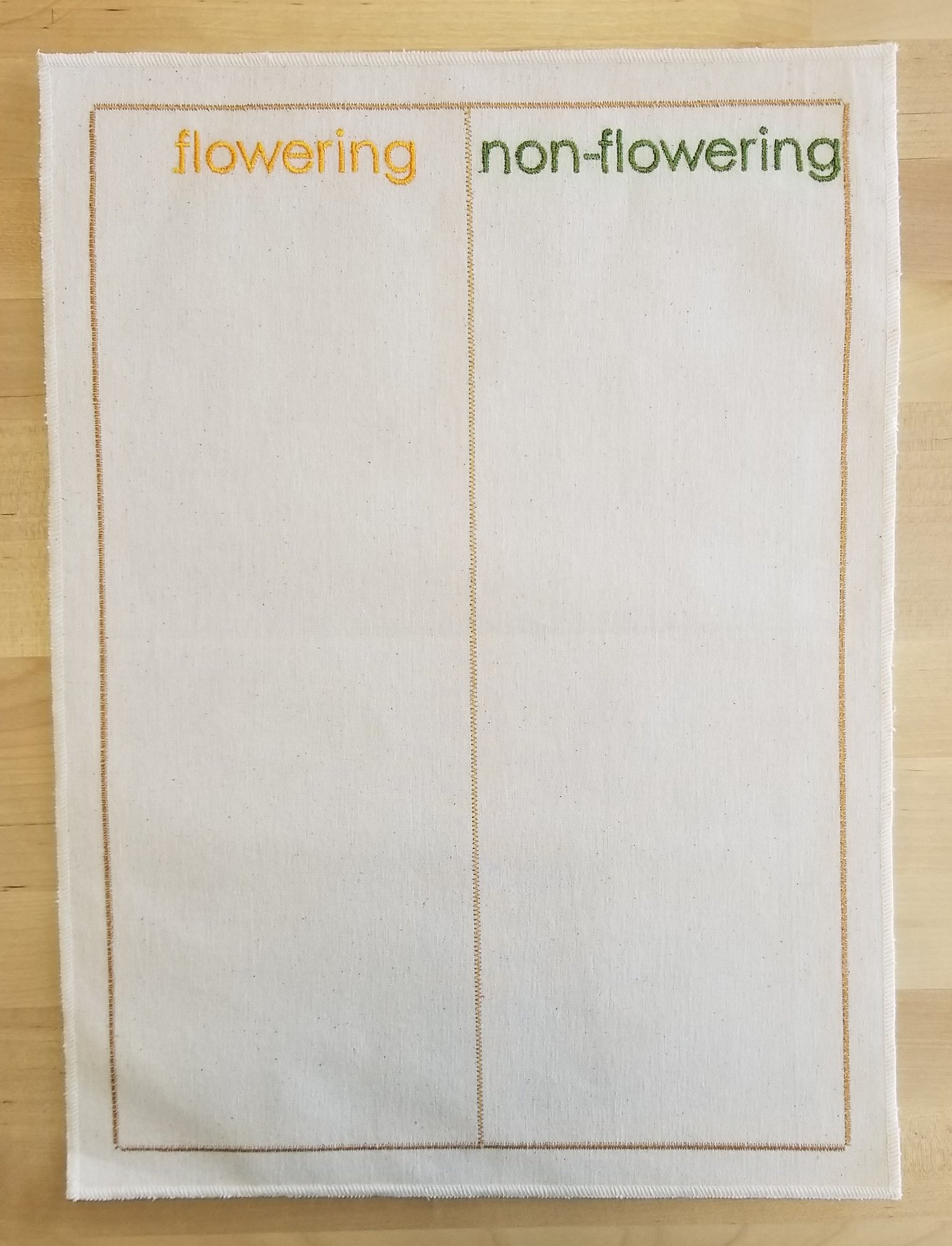 Embroidered Flowering/Non-Flowering Sorting Mat