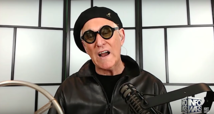 Video still of Roger Stone appearing on Infowars