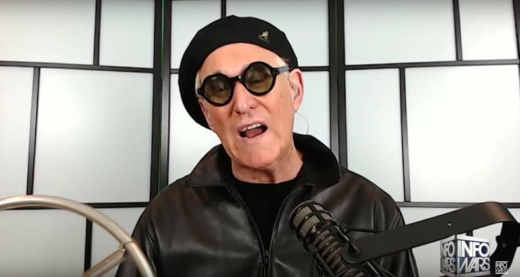 Video still of Roger Stone appearing on Infowars