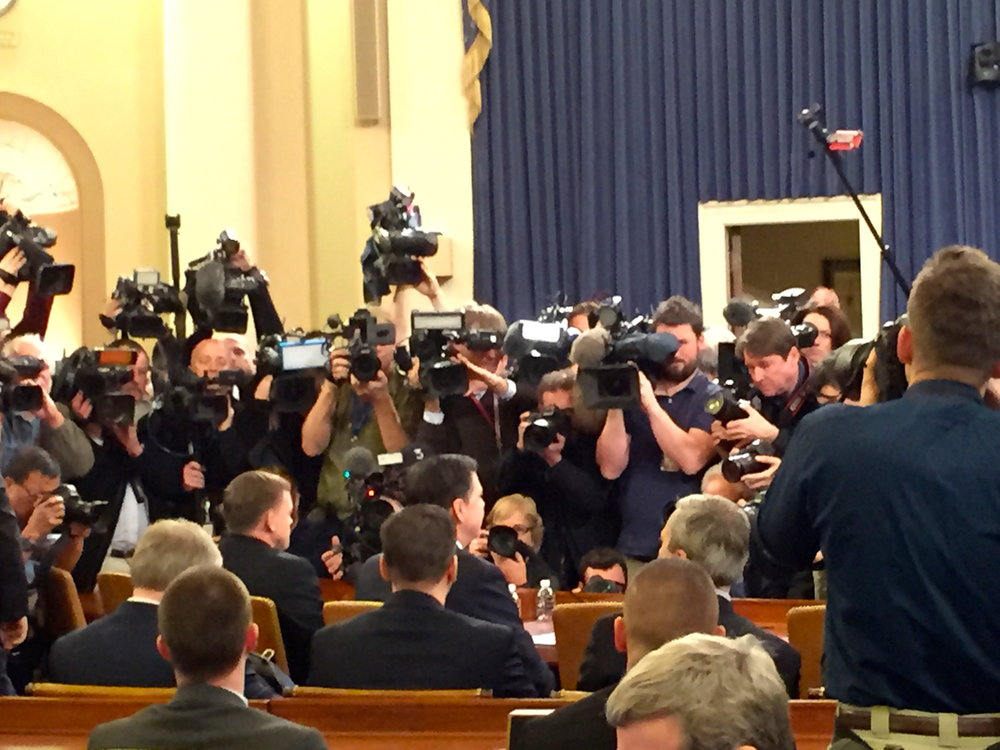 Former FBI Director James Comey facing the press before his testimony to House Intelligence Committee. Photo: Baynard Woods