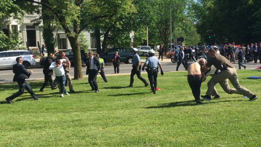 Protesters being attacked. Photo courtesy of Baltimore Bloc.