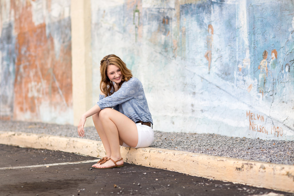 High School Senior laughing in Ybor City