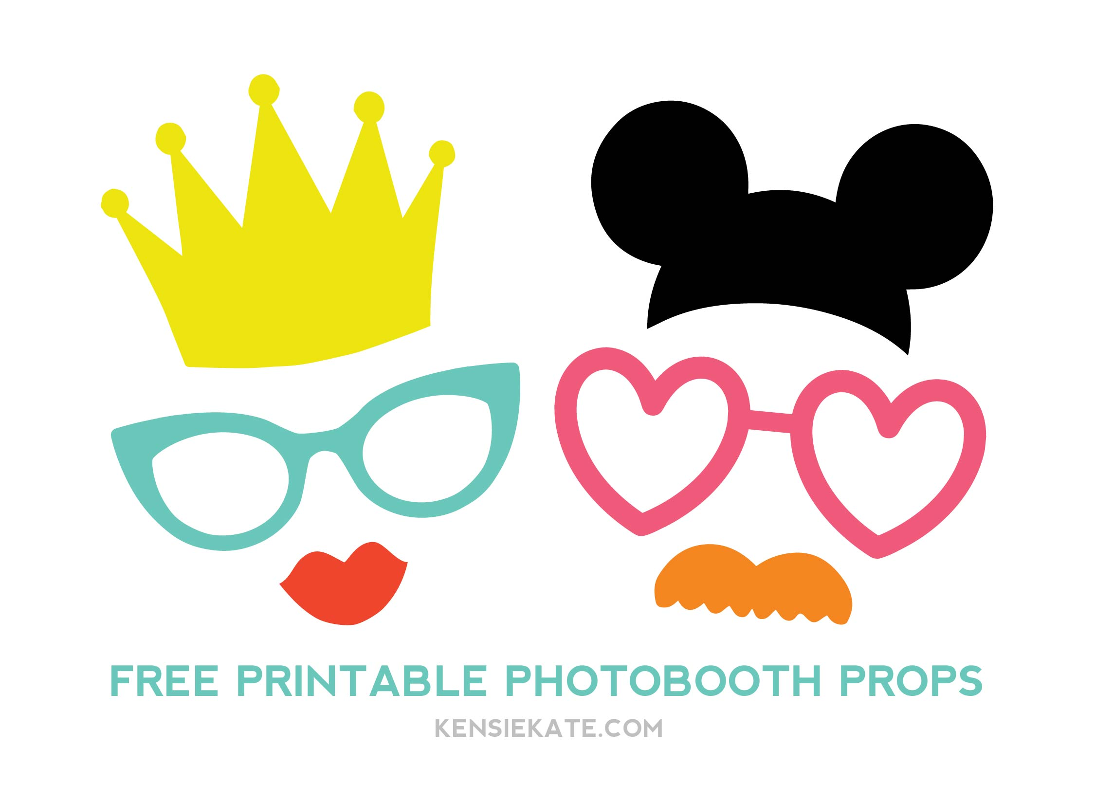More photobooth props kensie kate for Photo booth props template free download