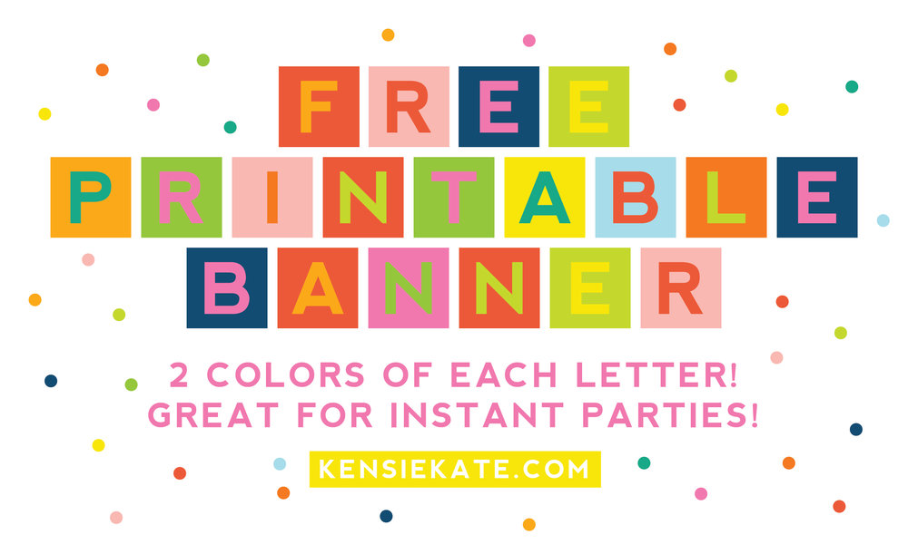 image relating to Free Printable Banner identified as Good day there! + totally free printable banner Kensie Kate