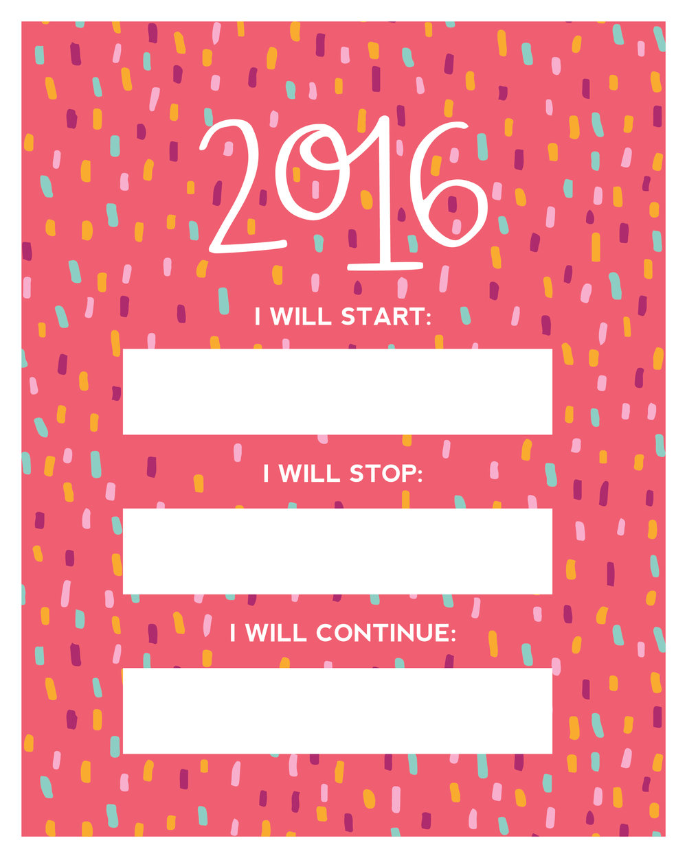 2016 simple new year's resolutions printable