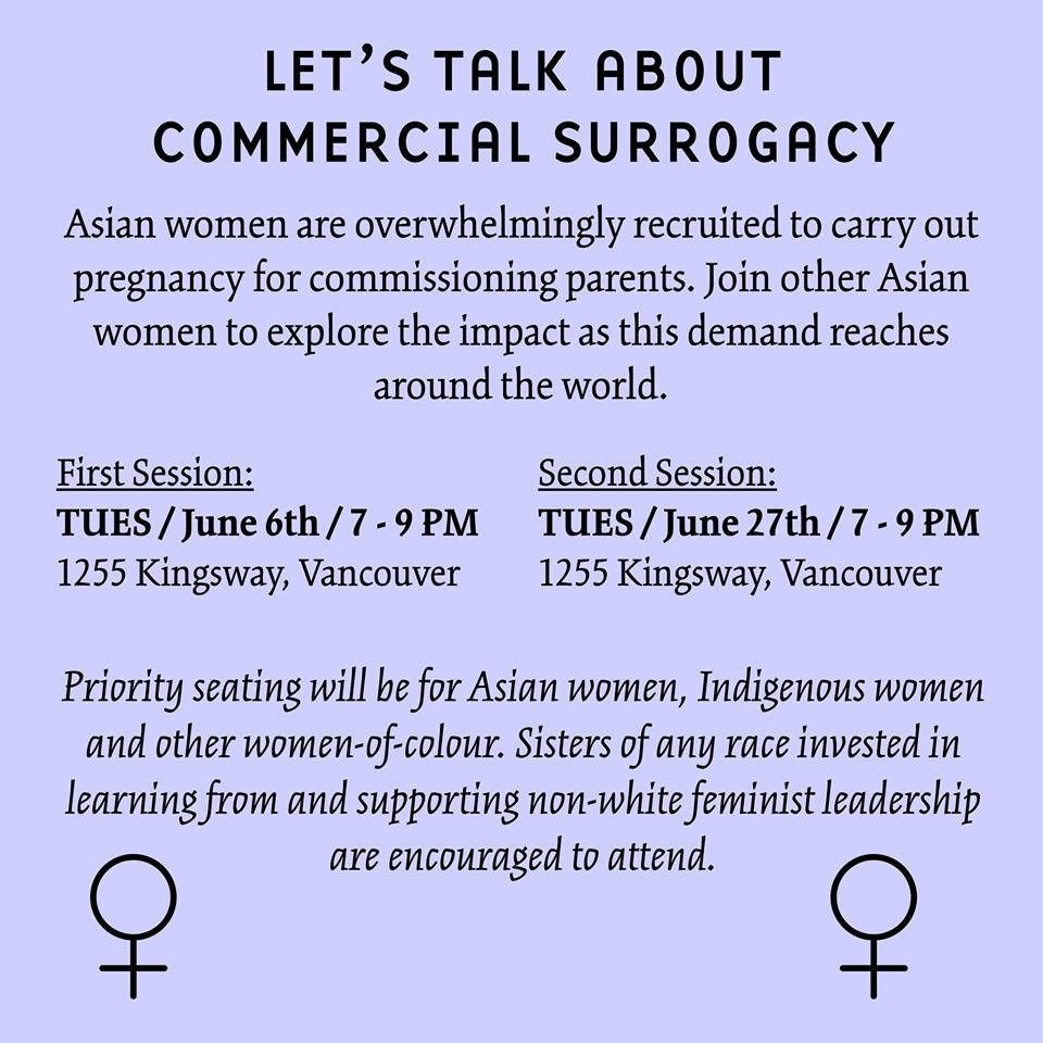 We hosted sessions to talk about Commercial Surrogacy - Together with Asian Women For Equality and South Asian Women Against Male Violence, the impact ofCommercial Surrogacy on Asian women was explored. Follow these two important groups for more news on the issue!