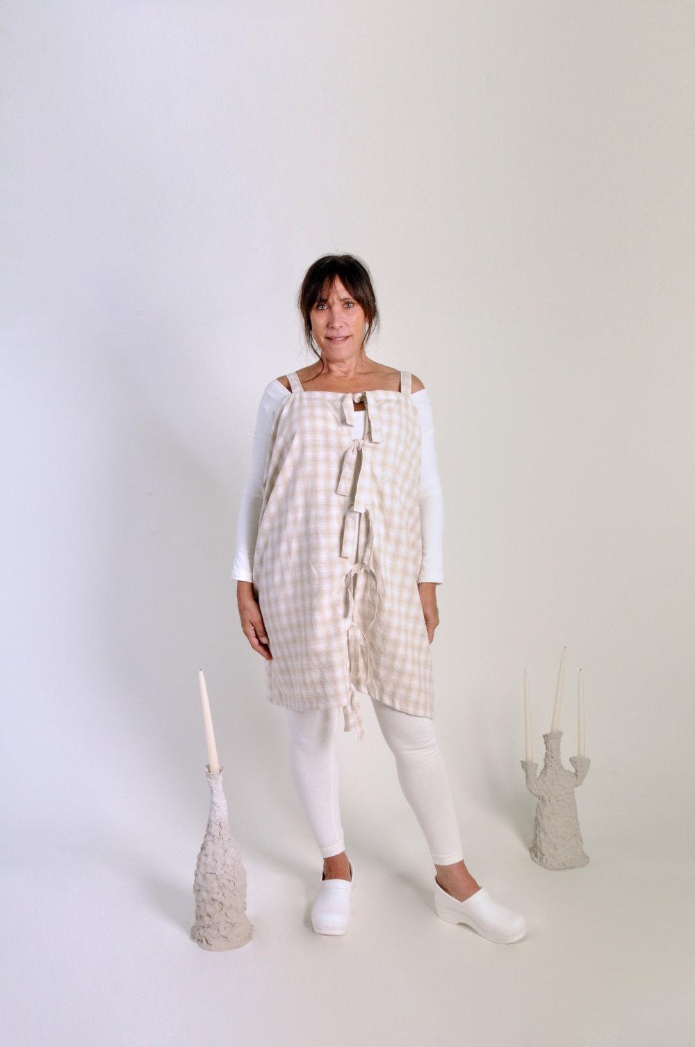Tahini dress - 0213COLOR : NEUTRAL PLAIDFABRIC : DEADSTOCK COTTON BLENDWHOLESALE $99 / RETAIL $198SIZES : ONE SIZE / FITS XS - XL
